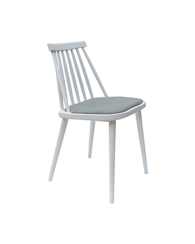 Silla Karat Blanco con Cojín Gris | White Karat Chair with Gray Cushion