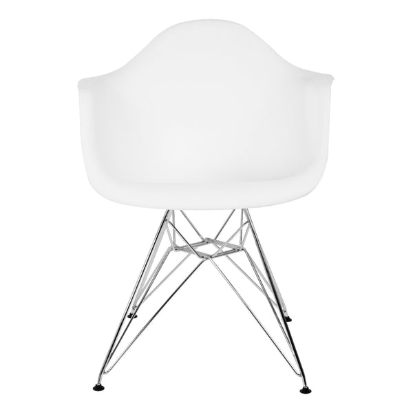 Silla Berlín Pata de Metal con Descansabrazos Blanca | White Berlin Chair with Metalic Leg and Armrests