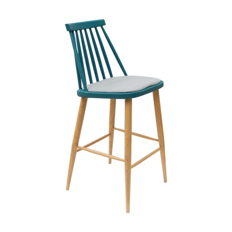 Banco Karat Azul (Cojín Gris) | Blue Karat Bar Stool (Gray Cushion)