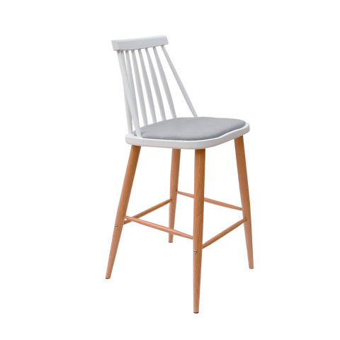 Banco Karat Blanco (Cojín Gris) | White Karat Bar Stool (Gray Cushion)