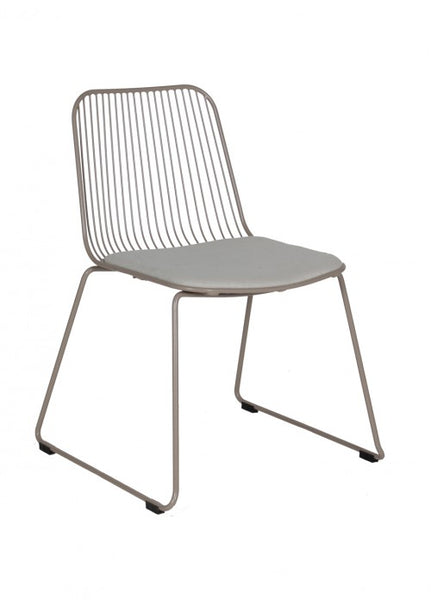 Silla Iron Gris con Cojín Gris Claro | Gray Iron Chair