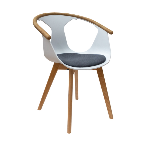 Silla Ninna Blanca (Cojín Gris) | White Ninna Chair (Gray Cushion)