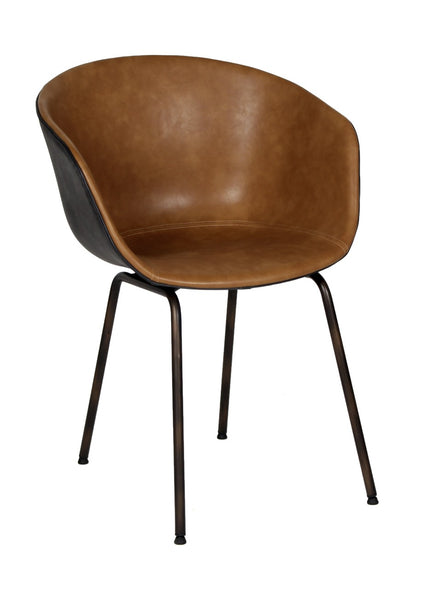 Silla Stella Doble Vista Café Claro Frente y Respaldo Negro (Pata Antique) | Stella Light Brown and Black Chair (Antique Leg)
