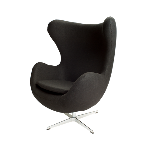Sillón Egg en Tela Gris Oscuro | Dark Gray Fabric Armchair Egg