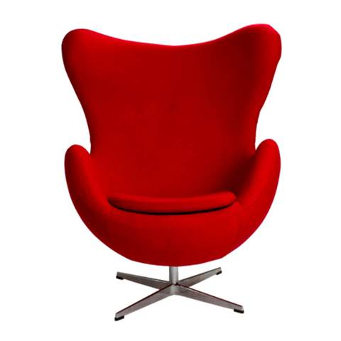 Sillón Egg en Tela Roja | Red Fabric Armchair Egg
