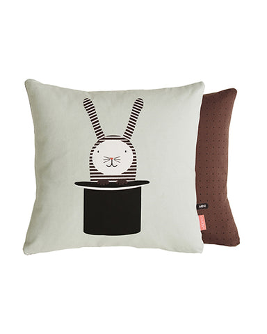 Cojín Conejo en Sombrero Menta / Café / Blanco 40 x 40 cm | Rabbit in Hat Cushion Mint/Brown/White 40 x 40 cm