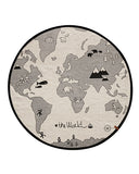 "Tapete ""The World"" Blanco & Negro  Ø135 cm 