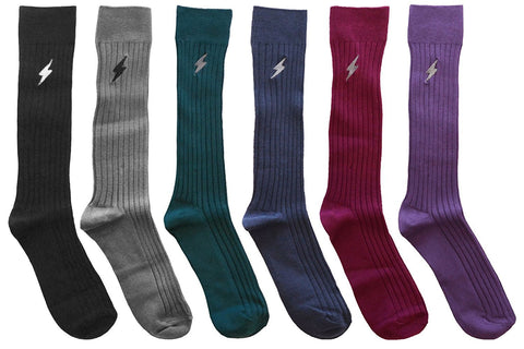 6 Pairs Mens Pima Cotton Over The Calf Dress Socks, Ribbed Textured Socks, One Size Assorted