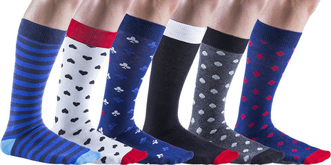 6 Pairs Sockbin Mens COTTON Dress Socks, Colorful Patterned Fashion