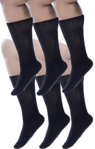 Zaftig Womens Plus Size Crew Socks, 100% Cotton, (6 Pairs Black)