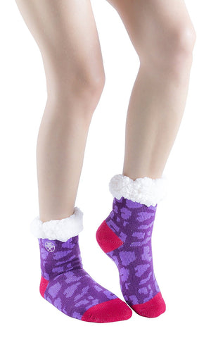 3 Pairs of Girls Non Skid Gripper Slipper Socks, Fleece-Lined Cozy Thick