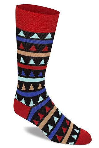 6 Pairs of Mens Colorful Dress Socks, Patterned, Combed Cotton