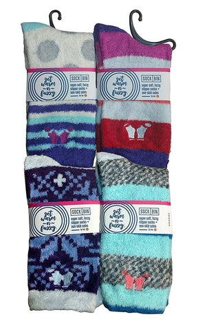 4 Pairs Cozy Socks for Women Premium Softest Plush Fuzzy Socks, Non-Skid Sole