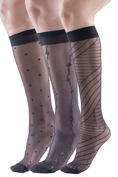 3 Pairs of Sheer Fashion Trouser Socks, Patterned Nylon Knee Highs