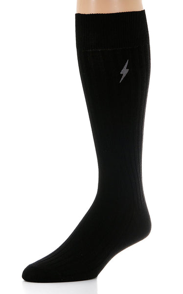 1 Pair Mens Pima Cotton Over The Calf Dress Socks, Ribbed Textured Socks