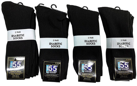 12 Pairs Mens Diabetic Crew Dress Socks, Cotton