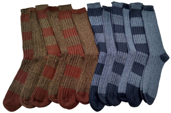 12 Pairs Of Mens High Cotton Content Ribbed Casual Crew Socks
