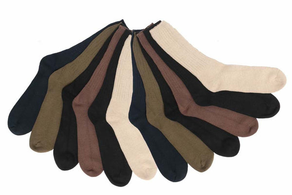 12 Pairs Of Mens High Cotton Content Assorted Color Casual Crew Socks