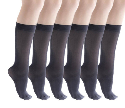 6 Pairs of Womens Knee High Dress Socks, Nylon Trouser Sock, 80 Denier