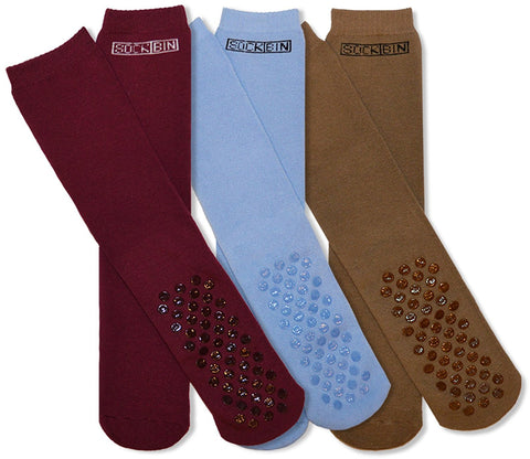 Mens Soft Slipper Socks, Non-Skid Silicon Gripper Sole ( 3 Pairs )