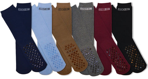 Mens Soft Slipper Socks, Non-Skid Silicon Gripper Sole ( 6 Pairs )
