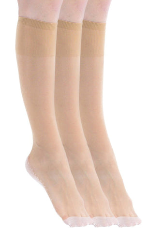 3 Pairs of Felicity Womens Sheer Trouser Socks, Cotton Sole, Ladies Nylon Dress Socks Size, 9-11
