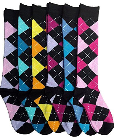 6 Pairs Of Mod And Tone Woman Designer Knee High Socks, Boot Socks
