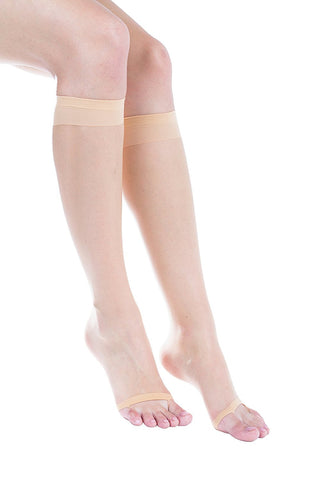 2 Pairs of Felicity Open Toe Trouser Socks, Sheer Dress Socks for Heels
