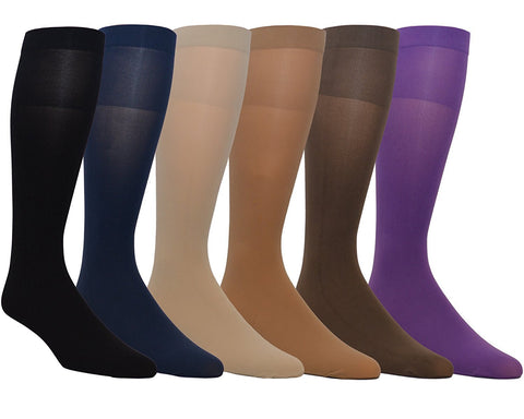Zaftig Womens Plus Size Opaque Nylon Trouser Socks, Expandable Calf ( 6 Pairs )