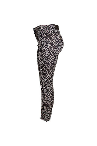 Sockbin Womens 5 Pocket Jeggings Pants Black and White Geo Pattern