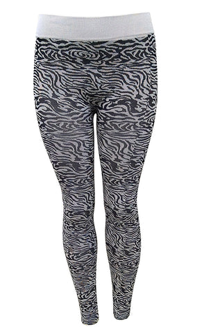 Riviera Women's Leggings, Black White Pattern Print, Many Sizes Available, Large, Safari