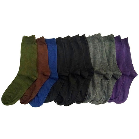 12 Pairs Of Sockbin Ladies Light Assorted Dark Color Every Day Crew Socks
