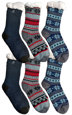 6 Pairs Mens Fleece-Lined Cozy Thick Winter Slipper Socks, Non-Skid Soles, Fluffy Warm