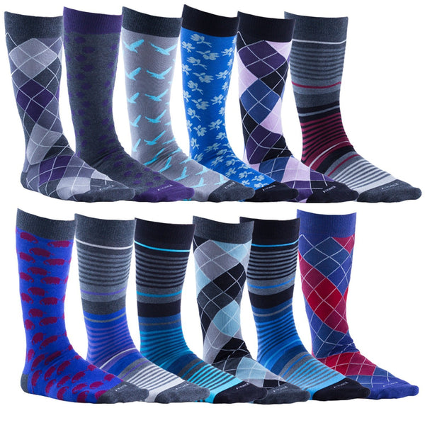 12 Pairs of Mens King Size Big and Tall Patterned Dress Socks