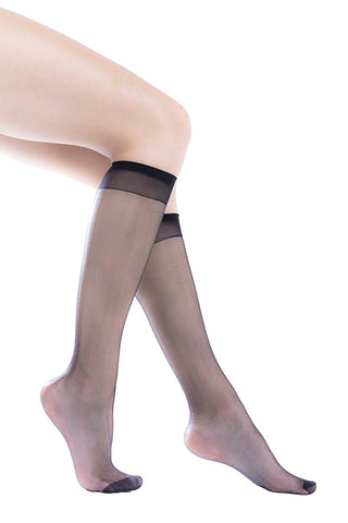 12 Pairs Womens Sheer Trouser Socks, Nylon Knee Highs