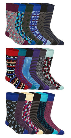 18 Pairs Patterned Mens Dress Socks Colorful, 82% COMBED COTTON, Colored Men Dress Sock Bulk Pack Motif Stripes Design, Pack A+B+C