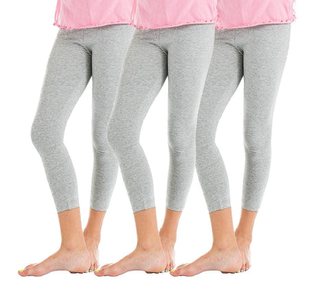 3 Pack Big Girls Solid Colored Cotton Leggings, Soft Cotton Comfy