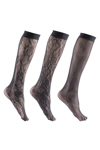 6 Pairs Womens Fishnet Patterned Trouser Socks