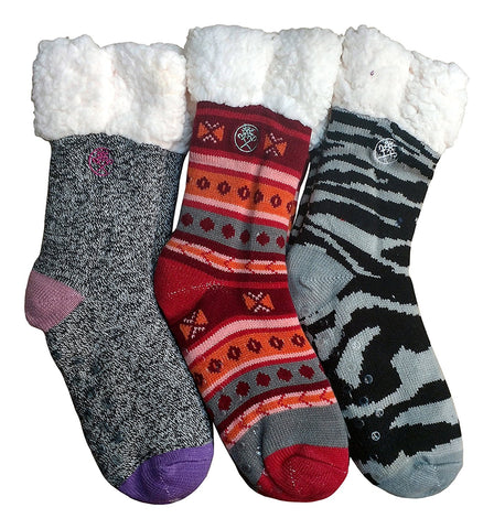 3 Pair Mens Fleece-Lined Cozy Thick Winter Slipper Socks, Non-Skid Soles, Fluffy Warm