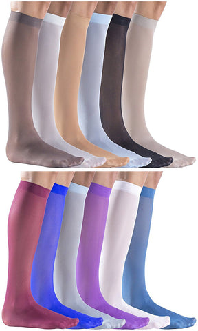 12 Pairs of Felicity Womens Trouser Socks, Opaque Thin Nylon Stretchy 50 Denier