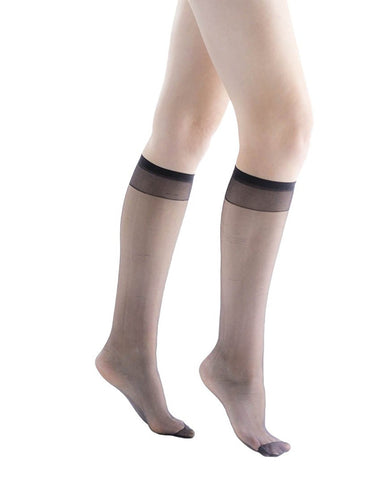 6 Pair of Felicity Sheer and Shiny Knee High Socks, Womens Trouser Dress Socks Size: 9-11