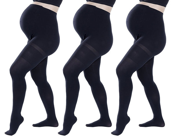 3 Pack Felicity Opaque Maternity Tights ( Small / Medium / Large / X-Large ) Black