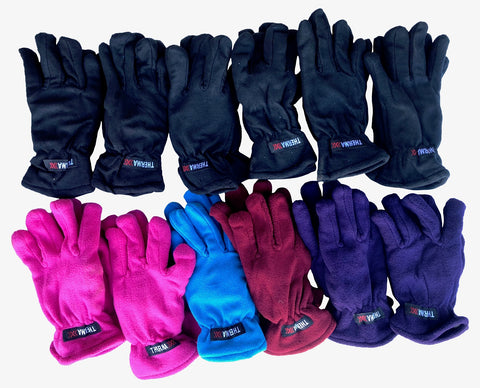 12 Pairs Womens Fleece Gloves, Colorful Winter Glove, Warm Thermal For Warmth