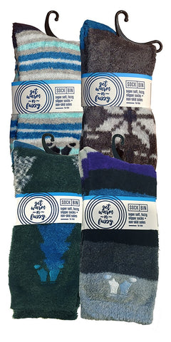 4 Pairs of Sockbin Mens Fuzzy Socks, Non-Skid Gripper Sock, Patterned Colorful Striped,Holiday Gift, No Slip Grip Plush Softest