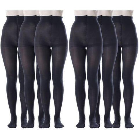 6 Pack Womens Opaque Pantyhose, 80 Denier, Matte Soft