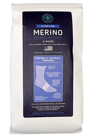 4 Pairs Kids Merino Wool Hiking Socks, MADE IN USA, 77% Merino Wool, Unisex