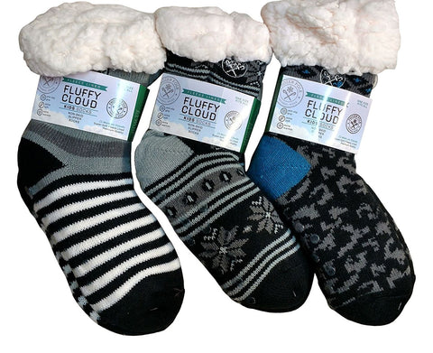 3 Pairs Of Kids Fleece-Lined Cozy Sherpa Fluffy Cloud Socks, Non Skid Gripper Sock, Warm Soft Plush