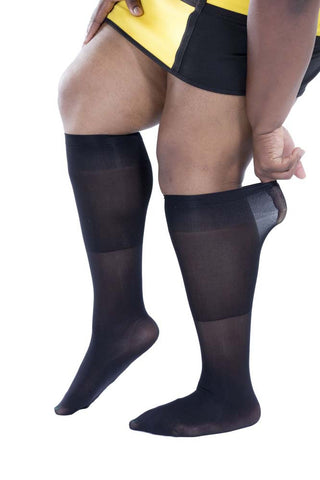 6 Pairs Womens Plus Size Opaque Nylon Trouser Socks, Wide Calves