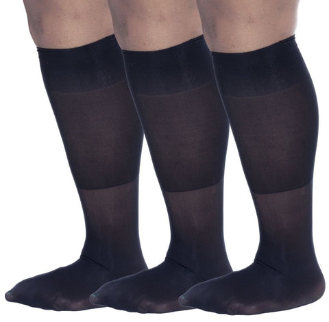 Zaftig Womens Plus Size Opaque Nylon Trouser Socks, Expandable Calf ( 3 Pairs )