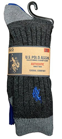 2 Pairs of Mens U.S. Polo Assn. Athletic Socks, Polyester Men Socks Crew